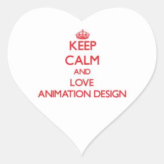 Guarde la calma y ame el diseño de la animación pegatina corazon