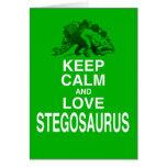 Guarde la calma y ame el diseño del dinosaurio del felicitaciones