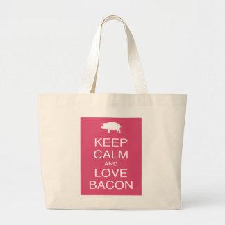 Guarde la calma y ame el diseño del rosa del cerdo bolsa