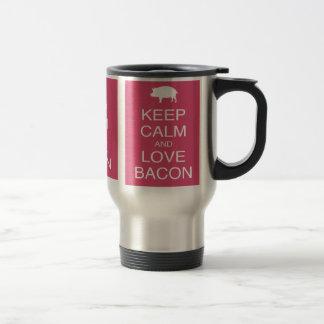 Guarde la calma y ame el diseño del rosa del cerdo tazas de café