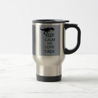 Guarde la calma y ame el diseño original del dinos taza de café