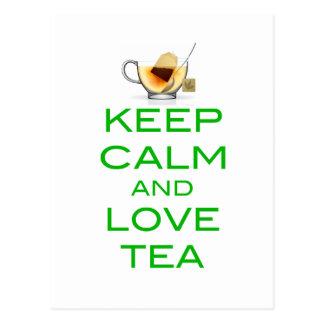 Guarde la calma y ame el diseño original del té tarjeta postal