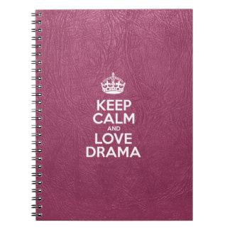 Guarde la calma y ame el drama - cuero rosado cuaderno