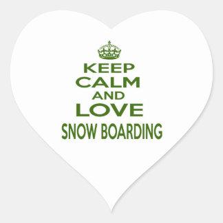Guarde la calma y ame el embarque de la nieve calcomanía corazón personalizadas