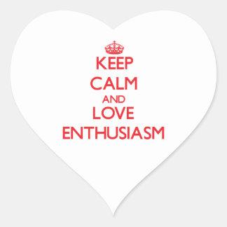 Guarde la calma y ame el entusiasmo calcomania de corazon personalizadas