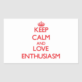 Guarde la calma y ame el entusiasmo rectangular pegatinas