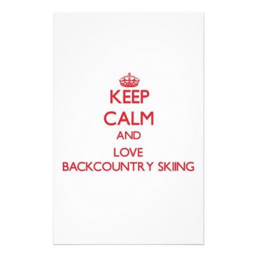 Guarde la calma y ame el esquí de Backcountry Papeleria Personalizada
