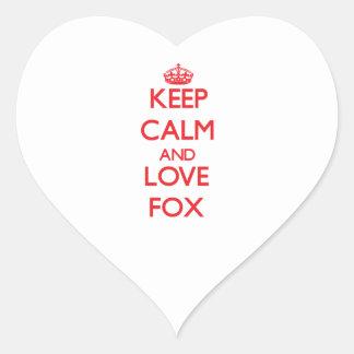 Guarde la calma y ame el Fox Pegatinas De Corazon
