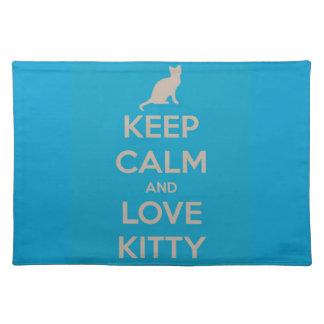 Guarde la calma y ame el gatito mantel individual