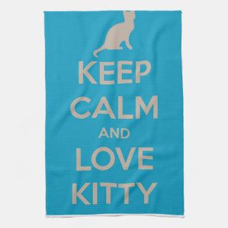 Guarde la calma y ame el gatito toallas de cocina