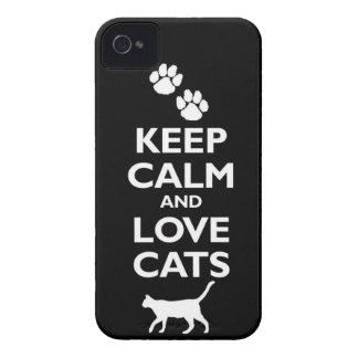guarde la calma y ame el gato felino de los iPhone 4 Case-Mate protector