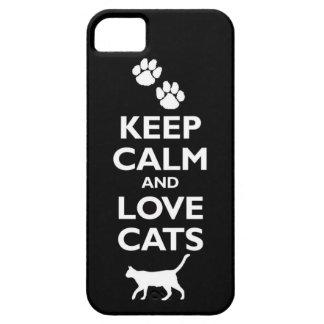 guarde la calma y ame el gato felino de los iPhone 5 carcasa
