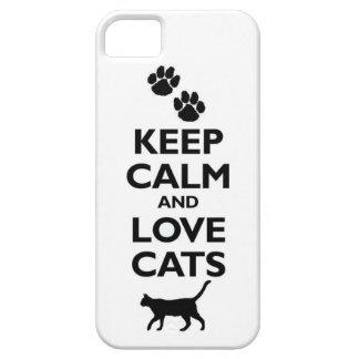 guarde la calma y ame el gato felino de los iPhone 5 funda