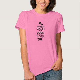 guarde la calma y ame el gato felino de los remera