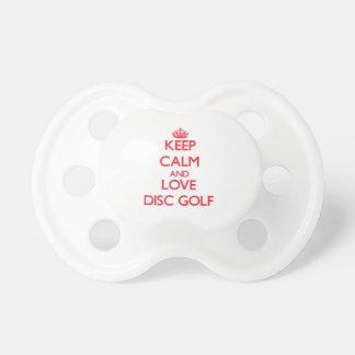 Guarde la calma y ame el golf del disco chupetes para bebes