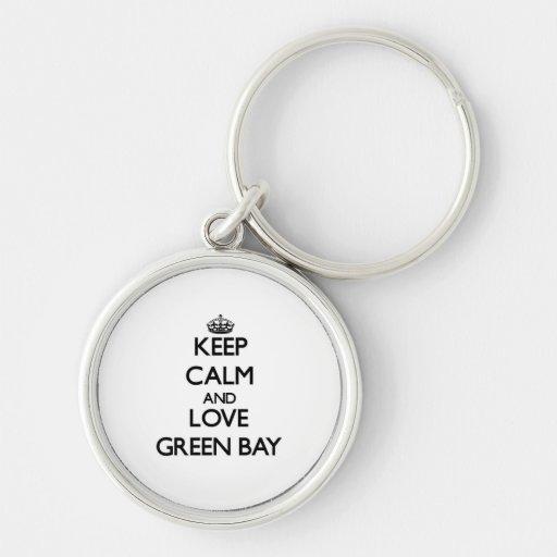 Guarde la calma y ame el Green Bay Llavero