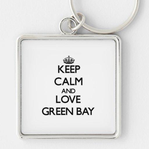 Guarde la calma y ame el Green Bay Llaveros
