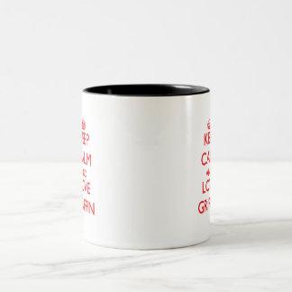 Guarde la calma y ame el grifo tazas de café