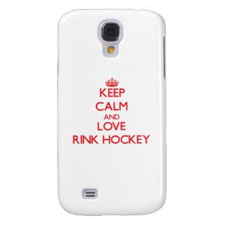 Guarde la calma y ame el hockey de la pista