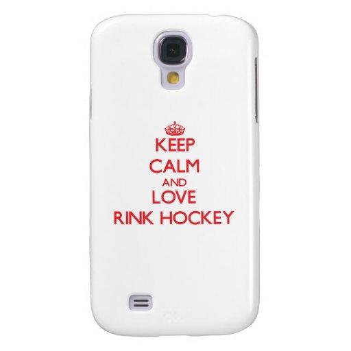 Guarde la calma y ame el hockey de la pista funda para galaxy s4