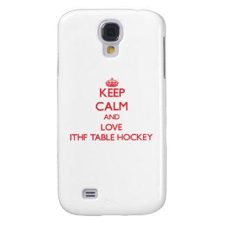 Guarde la calma y ame el hockey de la tabla de Ith