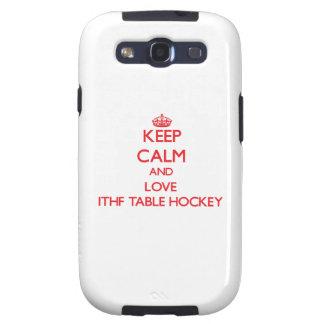 Guarde la calma y ame el hockey de la tabla de Ith Galaxy SIII Cobertura