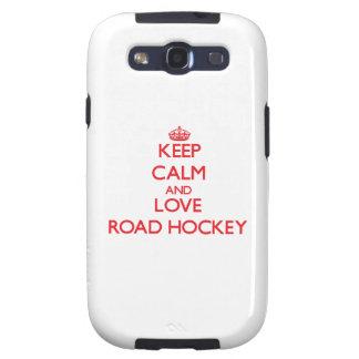 Guarde la calma y ame el hockey del camino samsung galaxy s3 carcasas