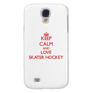 Guarde la calma y ame el hockey del patinador