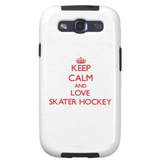 Guarde la calma y ame el hockey del patinador samsung galaxy s3 fundas
