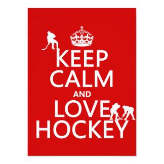 Guarde la calma y ame el hockey (el color del invitación personalizada