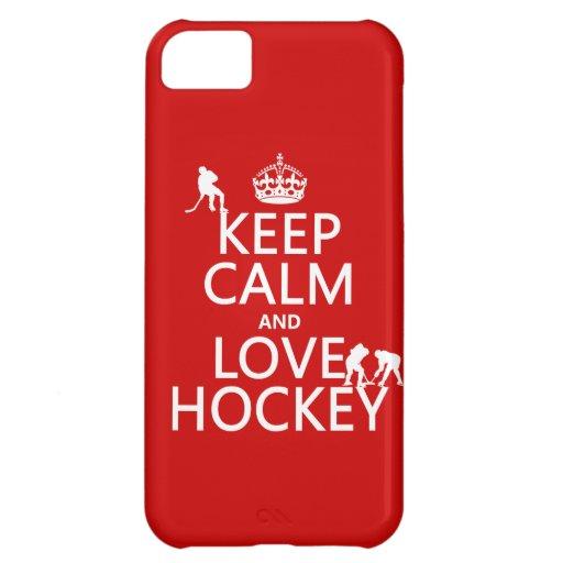 Guarde la calma y ame el hockey (el color del pers