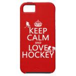 Guarde la calma y ame el hockey (el color del pers iPhone 5 fundas