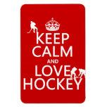 Guarde la calma y ame el hockey (el color del pers imán rectangular