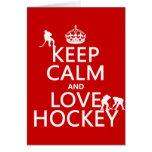 Guarde la calma y ame el hockey (el color del pers felicitacion