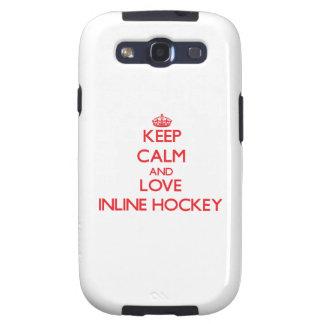 Guarde la calma y ame el hockey en línea samsung galaxy s3 carcasa