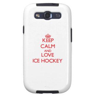 Guarde la calma y ame el hockey sobre hielo galaxy s3 protectores