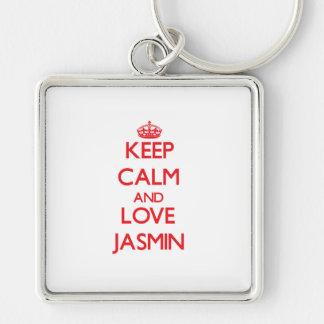 Guarde la calma y ame el jazmín llavero personalizado
