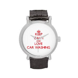 Guarde la calma y ame el lavado del coche relojes