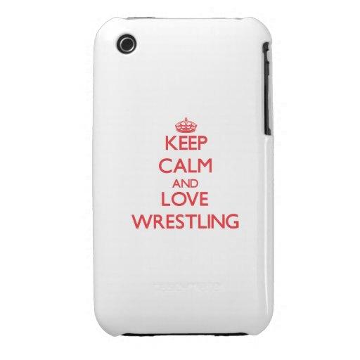 Guarde la calma y ame el luchar iPhone 3 Case-Mate coberturas