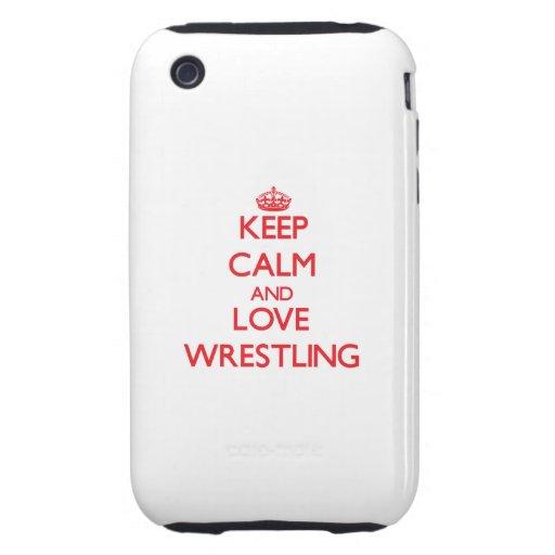 Guarde la calma y ame el luchar tough iPhone 3 coberturas