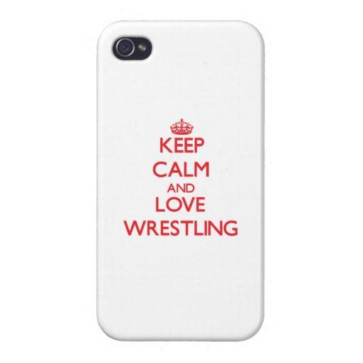 Guarde la calma y ame el luchar iPhone 4 protector