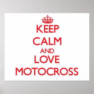 Guarde la calma y ame el motocrós posters
