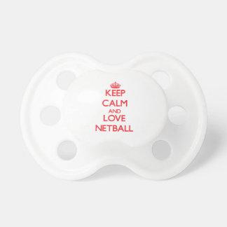 Guarde la calma y ame el Netball Chupete De Bebé