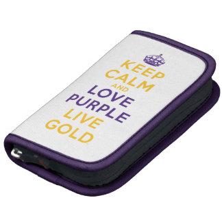 Guarde la calma y ame el oro vivo de la púrpura organizador