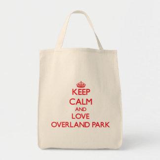 Guarde la calma y ame el parque terrestre bolsa