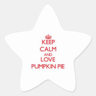 Guarde la calma y ame el pastel de calabaza calcomanías forma de estrellas