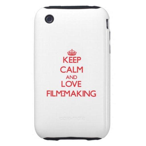 Guarde la calma y ame el Película-Making Tough iPhone 3 Carcasas