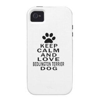 Guarde la calma y ame el perro de Bedlington Terri iPhone 4/4S Carcasa