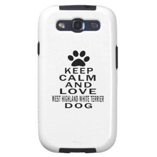 Guarde la calma y ame el perro de Terrier blanco d Samsung Galaxy S3 Carcasa