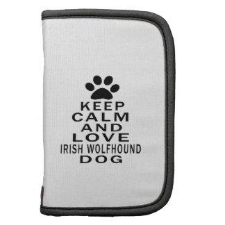 Guarde la calma y ame el perro del Wolfhound irlan Organizador